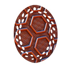 3d Abstract Patterns Hexagons Honeycomb Oval Filigree Ornament (Two Sides)