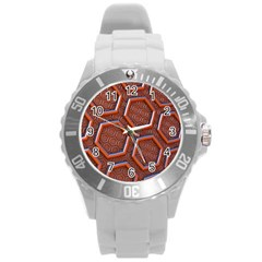 3d Abstract Patterns Hexagons Honeycomb Round Plastic Sport Watch (L)