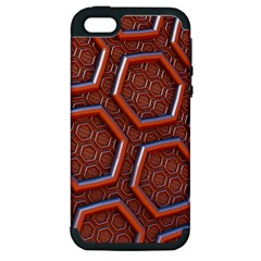 3d Abstract Patterns Hexagons Honeycomb Apple Iphone 5 Hardshell Case (pc+silicone)