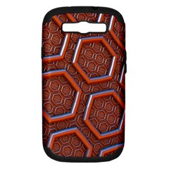 3d Abstract Patterns Hexagons Honeycomb Samsung Galaxy S Iii Hardshell Case (pc+silicone)