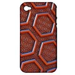3d Abstract Patterns Hexagons Honeycomb Apple Iphone 4/4s Hardshell Case (pc+silicone)