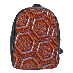 3d Abstract Patterns Hexagons Honeycomb School Bags (xl)