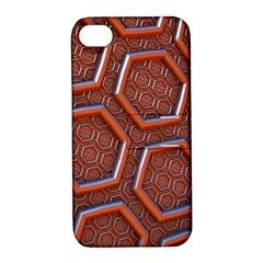 3d Abstract Patterns Hexagons Honeycomb Apple Iphone 4/4s Hardshell Case With Stand