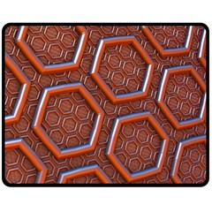 3d Abstract Patterns Hexagons Honeycomb Double Sided Fleece Blanket (medium)