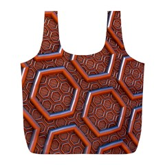 3d Abstract Patterns Hexagons Honeycomb Full Print Recycle Bags (l)