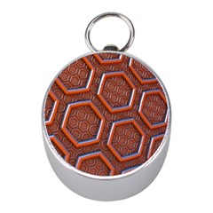 3d Abstract Patterns Hexagons Honeycomb Mini Silver Compasses