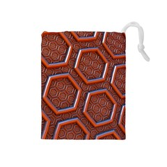 3d Abstract Patterns Hexagons Honeycomb Drawstring Pouches (medium)