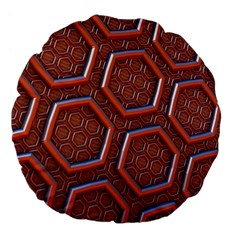 3d Abstract Patterns Hexagons Honeycomb Large 18  Premium Flano Round Cushions