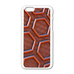 3d Abstract Patterns Hexagons Honeycomb Apple iPhone 6/6S White Enamel Case