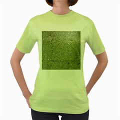 Abstract Flowing And Moving Liquid Metal Women s Green T Shirt