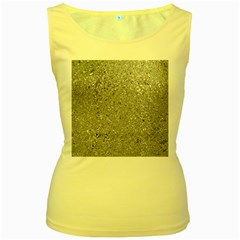 Abstract Flowing And Moving Liquid Metal Women s Yellow Tank Top