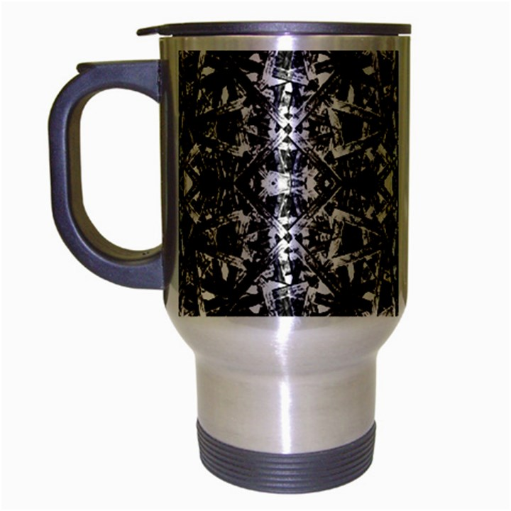 Modern Oriental Pattern Travel Mug (Silver Gray)