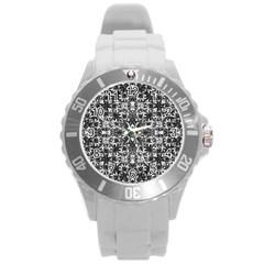 Modern Oriental Pattern Round Plastic Sport Watch (L)