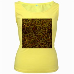 A Complex Maze Generated Pattern Women s Yellow Tank Top