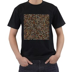 A Complex Maze Generated Pattern Men s T Shirt (black) (two Sided)