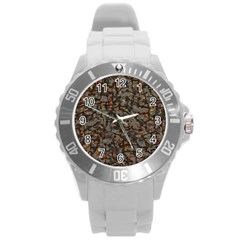 A Complex Maze Generated Pattern Round Plastic Sport Watch (l)