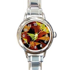 3d Red Abstract Fern Leaf Pattern Round Italian Charm Watch
