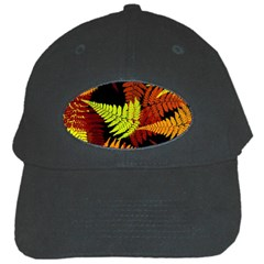 3d Red Abstract Fern Leaf Pattern Black Cap