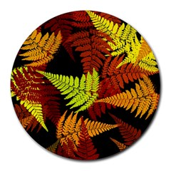 3d Red Abstract Fern Leaf Pattern Round Mousepads