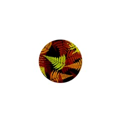 3d Red Abstract Fern Leaf Pattern 1  Mini Magnets