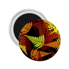 3d Red Abstract Fern Leaf Pattern 2 25  Magnets