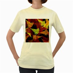 3d Red Abstract Fern Leaf Pattern Women s Yellow T Shirt