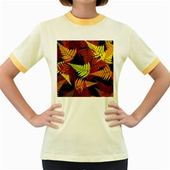 3d Red Abstract Fern Leaf Pattern Women s Fitted Ringer T Shirts