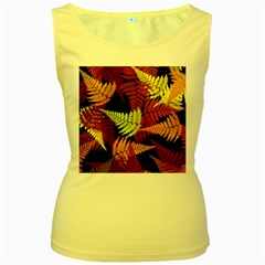 3d Red Abstract Fern Leaf Pattern Women s Yellow Tank Top
