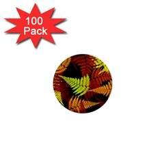 3d Red Abstract Fern Leaf Pattern 1  Mini Buttons (100 pack)