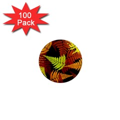 3d Red Abstract Fern Leaf Pattern 1  Mini Magnets (100 Pack)
