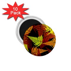 3d Red Abstract Fern Leaf Pattern 1 75  Magnets (10 Pack)