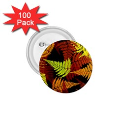 3d Red Abstract Fern Leaf Pattern 1 75  Buttons (100 Pack)