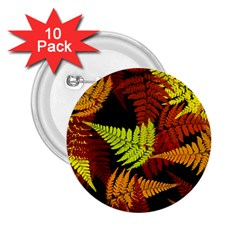 3d Red Abstract Fern Leaf Pattern 2.25  Buttons (10 pack)