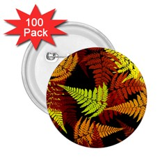 3d Red Abstract Fern Leaf Pattern 2.25  Buttons (100 pack)