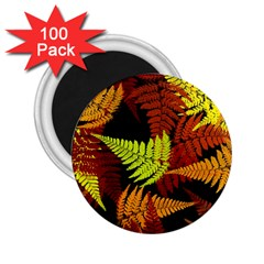 3d Red Abstract Fern Leaf Pattern 2 25  Magnets (100 Pack)