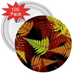 3d Red Abstract Fern Leaf Pattern 3  Buttons (100 Pack)