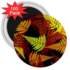 3d Red Abstract Fern Leaf Pattern 3  Magnets (100 pack)