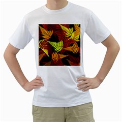 3d Red Abstract Fern Leaf Pattern Men s T Shirt (white) (two Sided)