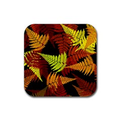 3d Red Abstract Fern Leaf Pattern Rubber Square Coaster (4 Pack)