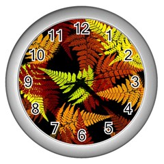 3d Red Abstract Fern Leaf Pattern Wall Clocks (Silver)