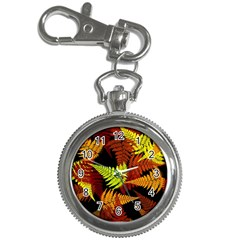 3d Red Abstract Fern Leaf Pattern Key Chain Watches