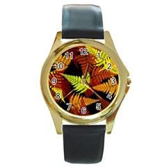 3d Red Abstract Fern Leaf Pattern Round Gold Metal Watch