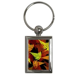 3d Red Abstract Fern Leaf Pattern Key Chains (rectangle)