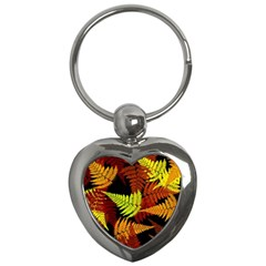 3d Red Abstract Fern Leaf Pattern Key Chains (heart)