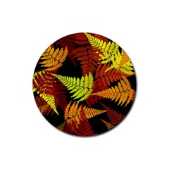 3d Red Abstract Fern Leaf Pattern Rubber Coaster (round)
