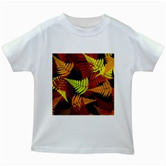 3d Red Abstract Fern Leaf Pattern Kids White T-Shirts
