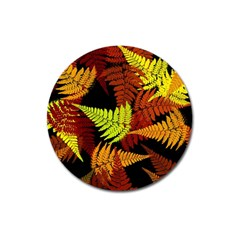 3d Red Abstract Fern Leaf Pattern Magnet 3  (round)