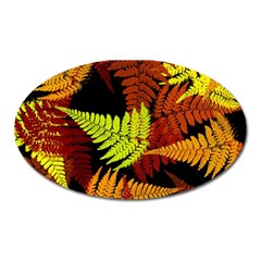 3d Red Abstract Fern Leaf Pattern Oval Magnet
