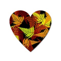 3d Red Abstract Fern Leaf Pattern Heart Magnet