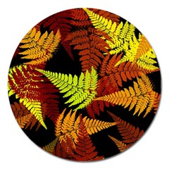 3d Red Abstract Fern Leaf Pattern Magnet 5  (Round)